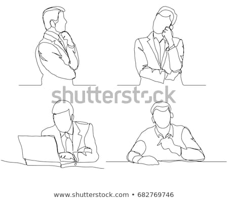 Businessman thinking linear design, continuous line, Thoughtful man with laptop outline. Stock photo © Andrei_