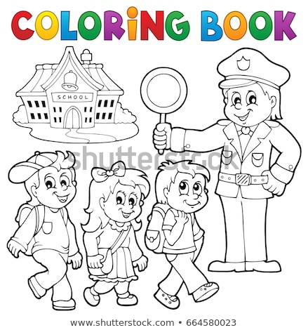 Coloring book pupils and policeman Stock photo © clairev