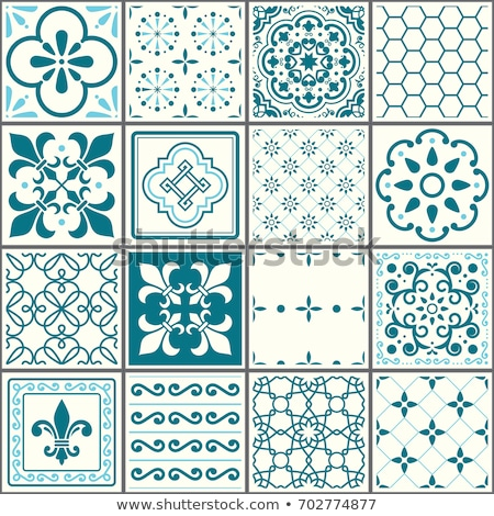 portuguese tiles pattern lisbon seamless turquoise tiles azulejos vintage geometric ceramic design stock photo © redkoala