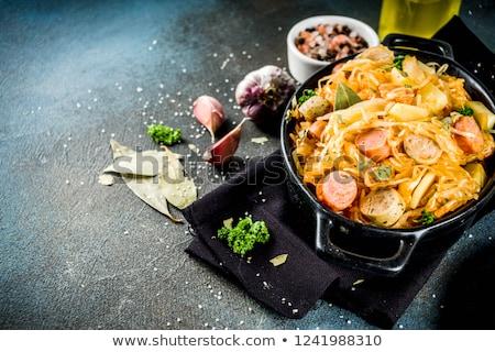 Stok fotoğraf: Cabbage Braised With Sausages Sauerkraut German Cuisine