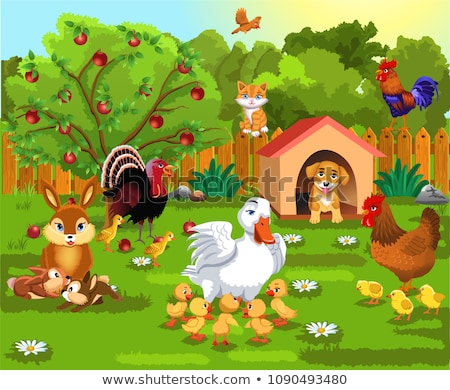 cute cartoon animals cat and duck in the garden  Stock photo © aminmario11