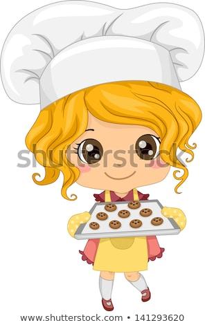 meisje · cake · illustratie · cute · meisje - stockfoto © krisdog
