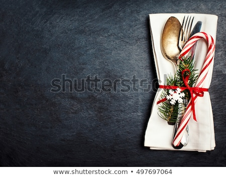 Stok fotoğraf: Christmas Table Setting Over White