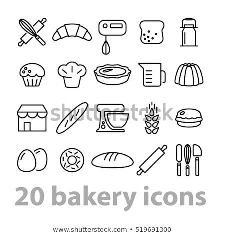 Bakkerij winkel vector iconen gebakken snoep Stockfoto © MarySan