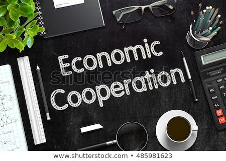 経済の 協力 黒 黒板 3D レンダリング ストックフォト © tashatuvango