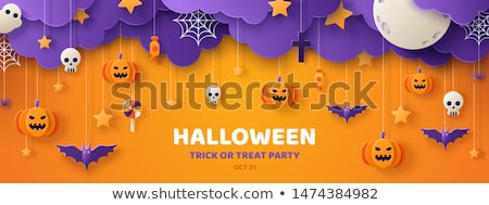 Stock photo: Halloween Sale vector illustration with pumpkin, cemetery and bats on orange sky background. Design
