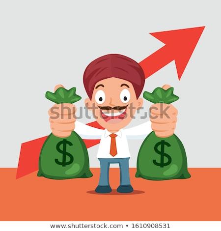 üzletember tart pénz táska mutat dollárjel Stock fotó © RAStudio