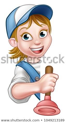 Vrouwelijke cartoon loodgieter klusjesman Stockfoto © Krisdog