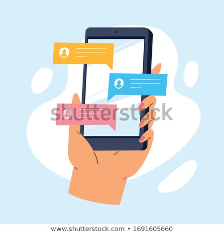 Man sending message on mobile phone Stock photo © IS2