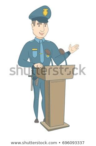 Młodych policjant mowy publiczności Zdjęcia stock © RAStudio