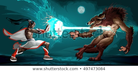 fighting scene between elf and beast stock photo © ddraw