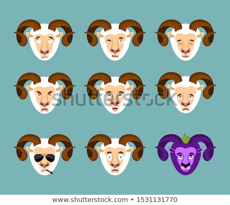 Ram set emotion avatar. sad and angry face. guilty and sleeping. Stock photo © popaukropa