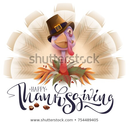 Stock photo: Live fun turkey bird Thanksgiving Day poster. Happy Thanksgiving text greeting card