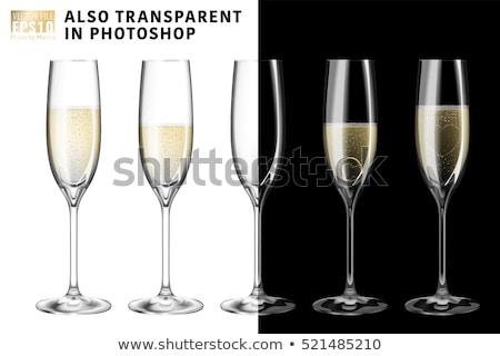 Stok fotoğraf: şampanya · gözlük · kabarcıklar · yansıma · siyah · şarap