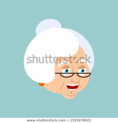 grandmother happy emotion avatar face grandma merry emoji old stock photo © popaukropa