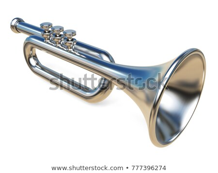 Stock photo: Simple Silver Trumpet 3d