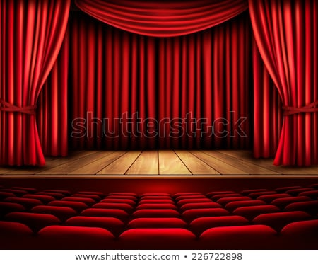 Theater bioscoop gehoorzaal scherm Rood gordijnen Stockfoto © SArts