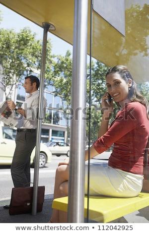 ビジネスマン バス停 待って 幸せ 男 コーヒー ストックフォト © IS2