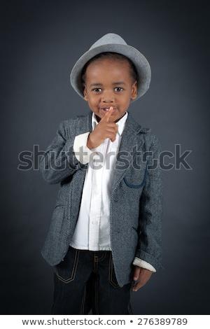 Menino criança silêncio gesto quadro Foto stock © deandrobot