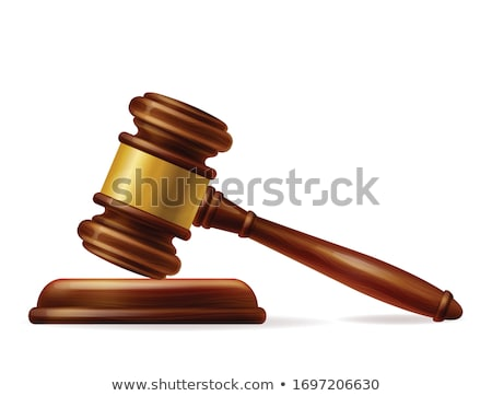 judge hammer and stand in 3d vector illustration stock photo © kup1984