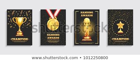Bajnokság díjak szertartás bannerek szett arany Stock fotó © studioworkstock