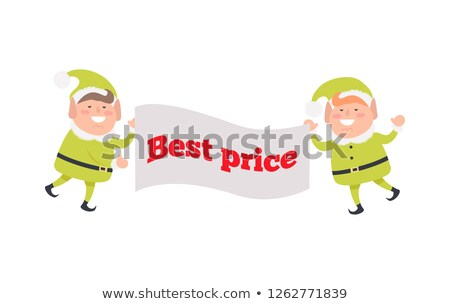 Poster Best Price Held by Elf on White Background Stock photo © robuart