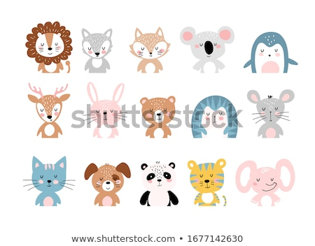 Stockfoto: Animal Set Portrait In Flat Graphics - Panda
