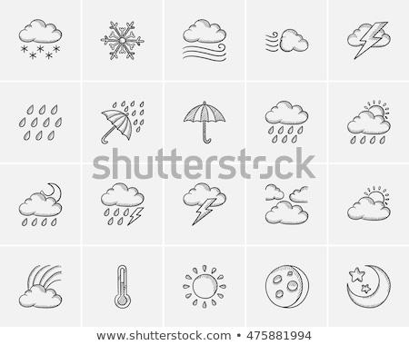 Szivárvány esik az eső felhők kézzel rajzolt rajz ikon Stock fotó © RAStudio