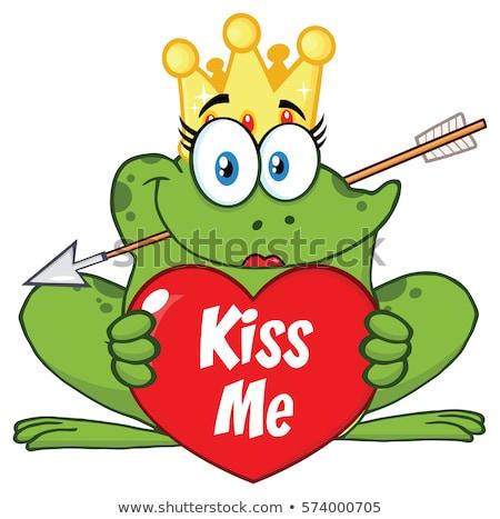 笑みを浮かべて · 王女 · カエル · 漫画のマスコット · 文字 · クラウン - ストックフォト © hittoon