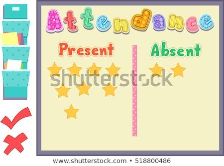 attendance board present absent stock photo © lenm