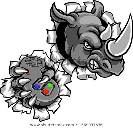 Rhino Gamer Holding Games Controller Mascot Stock photo © Krisdog
