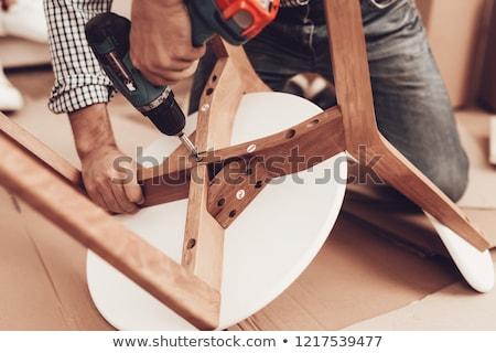 Csavarhúzó bútor műhely gyártás ipar fa Stock fotó © dolgachov