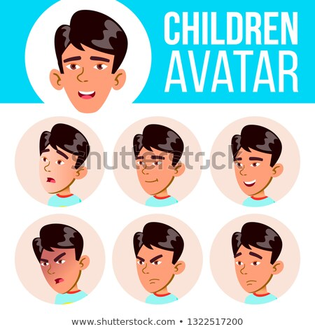 Boy Avatar Set Kid Vector. Primary School. Face Emotions. Flat, Portrait. Youth, Caucasian. Colorful Stock photo © pikepicture