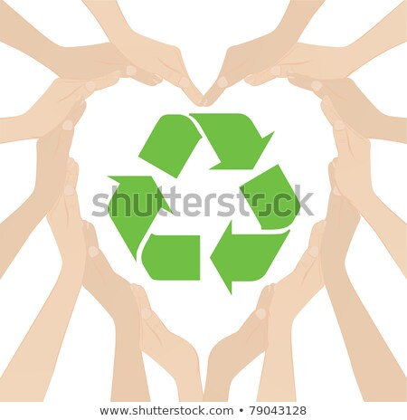 Stock photo: female hands forming the recycling symbol on white background
