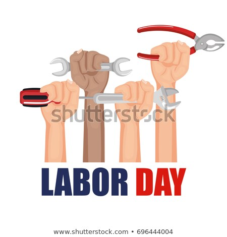 raised fist, american flag and text labor day Stock photo © nito