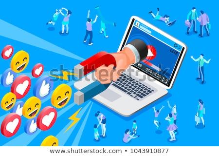 sosyal · medya · mavi · vektör · ikon · dizayn · web - stok fotoğraf © rastudio