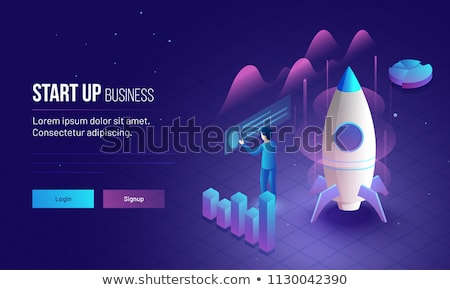 Businessman launches his startup company with a rocket Stock photo © alphaspirit