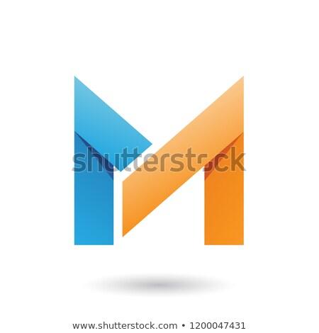Blue and Orange Folded Paper Letter M Vector Illustration Stock photo © cidepix