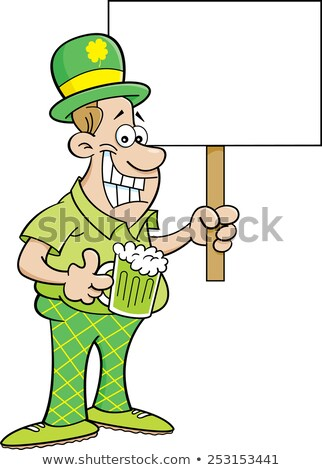 Cartoon man wearing a derby and holding a sign. Stock photo © bennerdesign