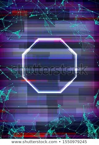 Glitch cyberpunk frame with technology error and neon shape Stock photo © SwillSkill