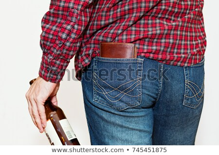 back view of relaxed man wearing shirt with blue checkers Stock photo © feedough