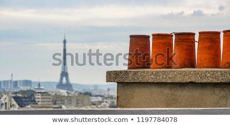 Stock fotó: Tetők · Párizs · felhők · égbolt · Franciaország · Európa