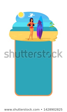 vacation summer poster girl surfboard at coastline stock photo © robuart