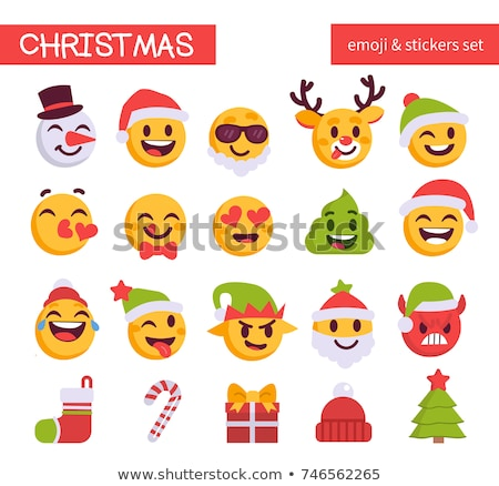 Christmas emoji Snowman in Santa's hat, holiday smile face emoticon, vector illustration. Stock photo © ikopylov