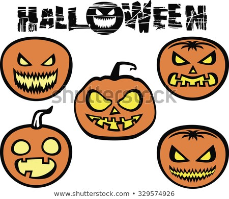 Halloween Party flyer vector illustration with scary faced pumpkins on orange background. Holiday de Stock photo © articular