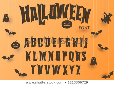 Halloween font, Original Typeface, Scary creepy alphabet, Dirty Letters, for holiday party. Vector Stock photo © Andrei_