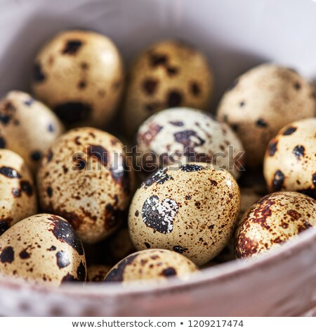 Macro photo white bowl with fresh healthy quail eggs on a wooden table. Diet food. Top view Stock photo © artjazz