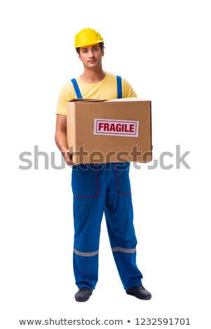 Handsome contractor holding fragile box isolated on white  Stock photo © Elnur
