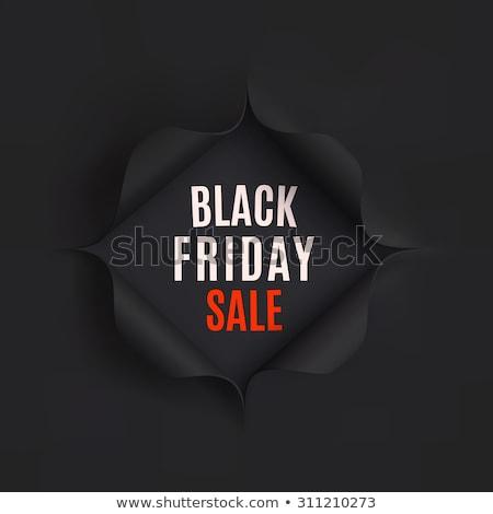 Black Friday sale background. Hole in black paper. Vector illustration Stock photo © olehsvetiukha
