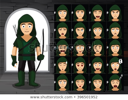 Cartoon Angry Robin Hood  Stock photo © cthoman